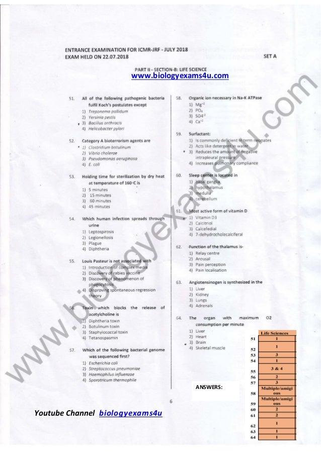 www.biologyexams4u.com Youtube Channel biologyexams4u ANSWERS: