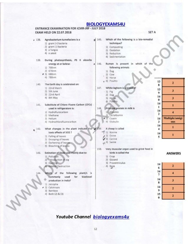 ICMR JRF 2018 Question Paper with Answer Key - Section ...