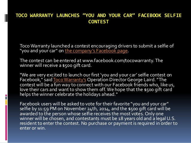 """TOCO WARRANTY LAUNCHES """"YOU AND YOUR CAR"""" FACEBOOK SELFIE CONTEST Toco Warranty launched a contest encouraging drivers to ..."""