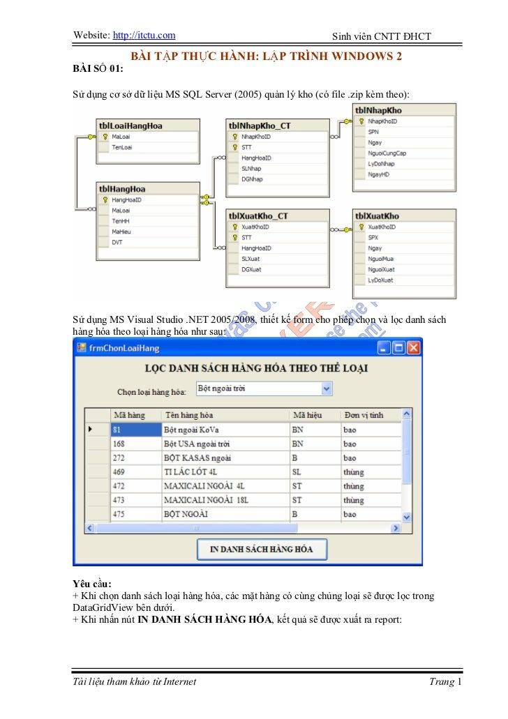 Website: http://itctu.com                                    Sinh viên CNTT ĐHCT               BÀI TẬP THỰC HÀNH: LẬP TRÌN...
