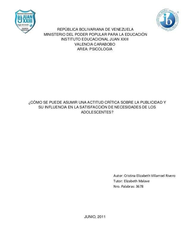 REPÚBLICA BOLIVARIANA DE VENEZUELA       MINISTERIO DEL PODER POPULAR PARA LA EDUCACIÓN               INSTITUTO EDUCACIONA...