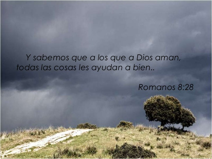 Y sabemos que a los que a Dios aman,todas las cosas les ayudan a bien..                            Romanos 8:28