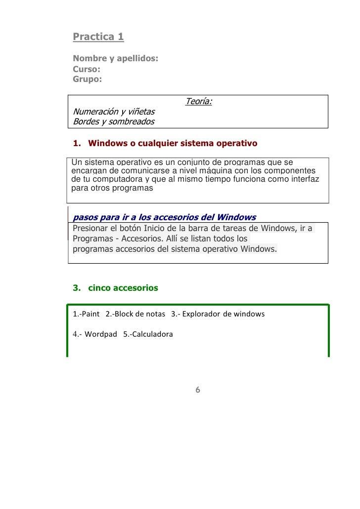 Practica 1<br />Nombre y apellidos:<br />Curso:<br />Grupo:<br />Teoría:<br />Numeración y viñetas<br />Bordes y sombreado...