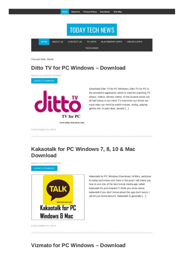 TODAY TECH NEWS You are here: Home Ditto TV for PC Windows – Download MARCH 10, 2018 BY COOPER LEAVE A COMMENT Download Di...