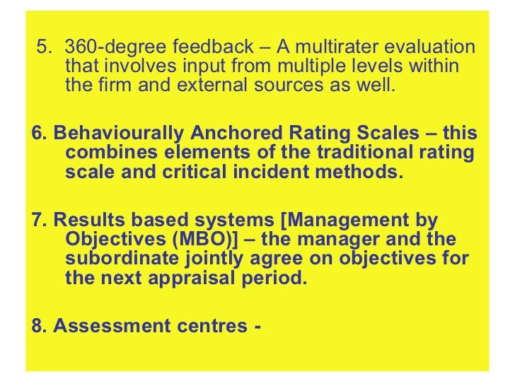 <ul><li>5.  360-degree feedback – A multirater evaluation that involves input from multiple levels within the firm and ext...