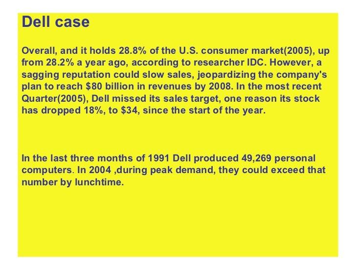 <ul><li>Dell case  </li></ul><ul><li>Overall, and it holds 28.8% of the U.S. consumer market(2005), up  </li></ul><ul><li>...