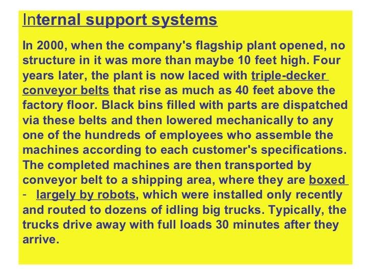 <ul><li>In ternal support systems </li></ul><ul><li>In 2000, when the company's flagship plant opened, no  </li></ul><ul><...