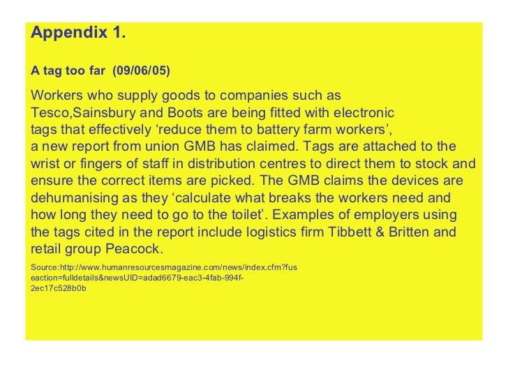 <ul><li>Appendix 1. </li></ul><ul><li>A tag too far  (09/06/05) </li></ul><ul><li>Workers who supply goods to companies su...