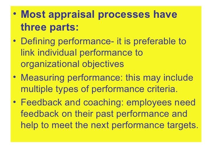 <ul><li>Most appraisal processes have three parts: </li></ul><ul><li>Defining performance- it is preferable to link indivi...