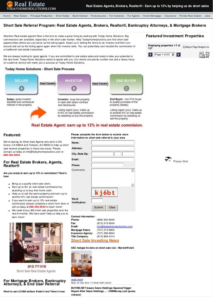 Real Estate Agents, Brokers, Realtor®- Earn up to 12% by helping us do short sales  Home | Real Estate | Principal Redu...