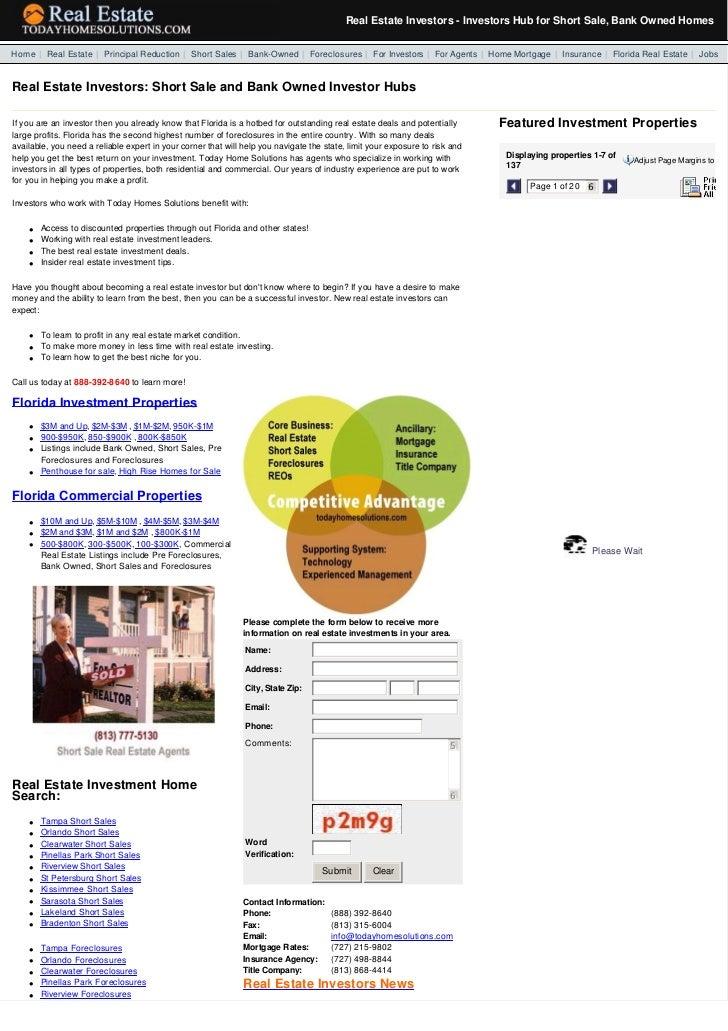 Real Estate Investors - Investors Hub for Short Sale, Bank Owned Homes  Home   Real Estate   Principal Reduction   Short...