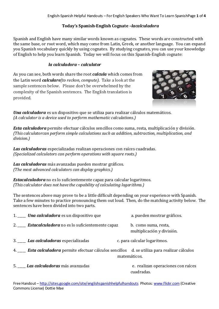 Today's Spanish-English Cognate – la calculadora <br />Spanish and Engli...