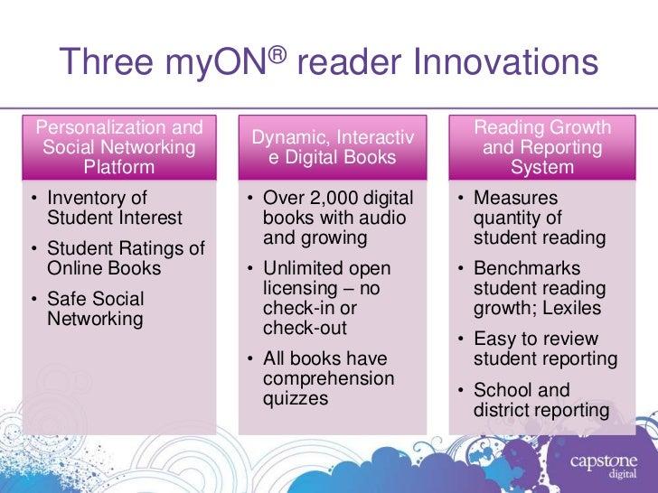 Three myON® reader InnovationsPersonalization and                             Reading Growth                       Dynamic...