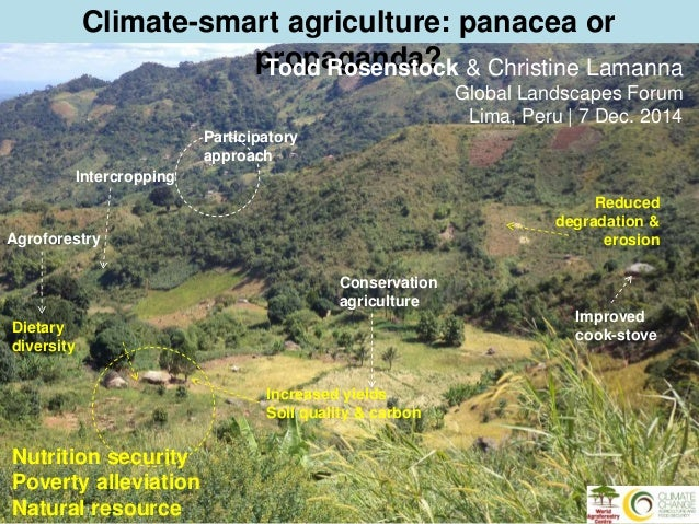 Climate-smart agriculture: panacea or  Agroforestry  propaganda?  Nutrition security  Poverty alleviation  Natural resourc...