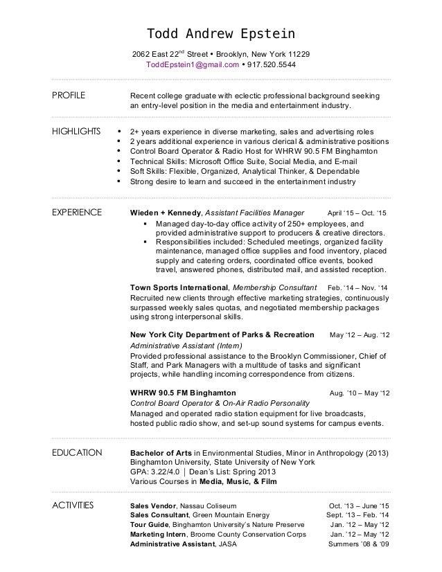 resume todd epstein