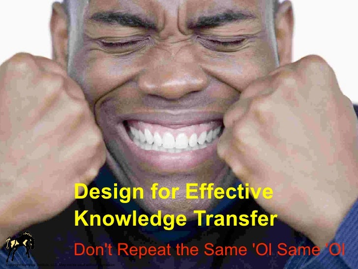 Design for Effective                                           Knowledge Transfer                                         ...