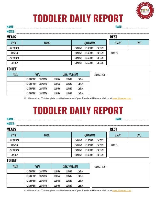 photograph regarding Daily Sheet identified as Child Day-to-day Sheet