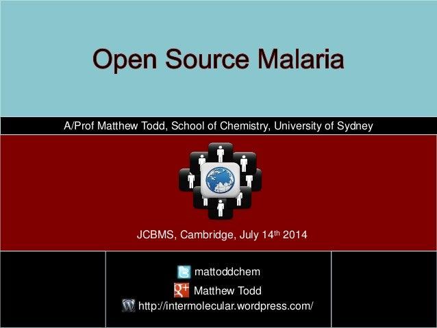 A/Prof Matthew Todd, School of Chemistry, University of Sydney mattoddchem http://intermolecular.wordpress.com/ JCBMS, Cam...