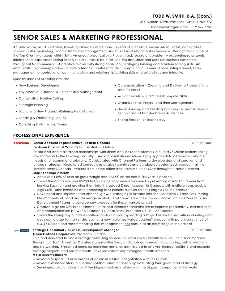 marketing professional resume todd w smith ba econ - Marketing Professional Resume