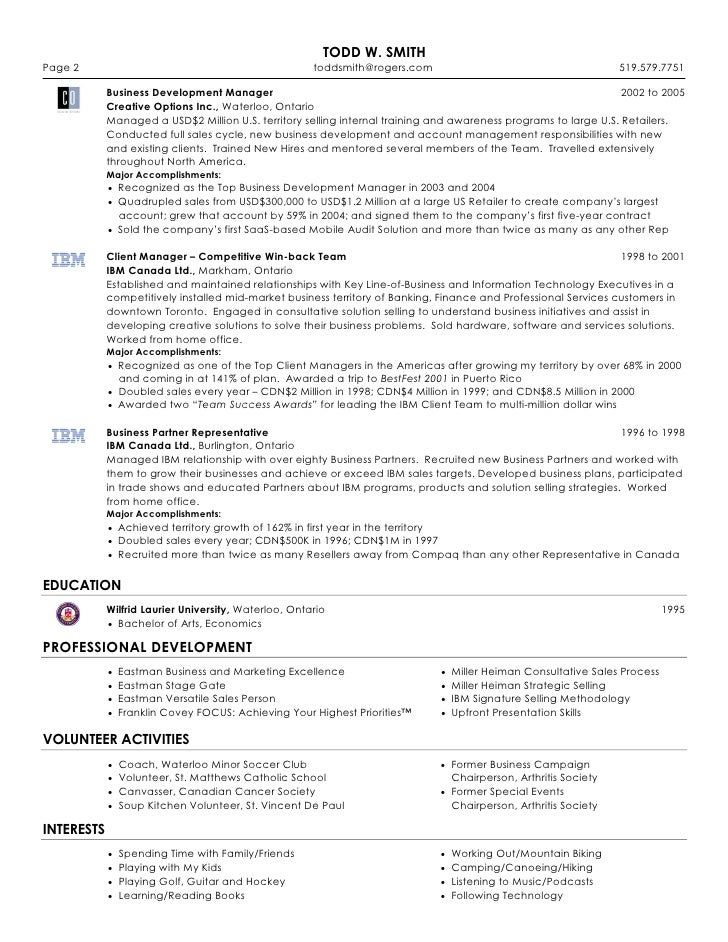 Example Resume For Entrepreneur Page