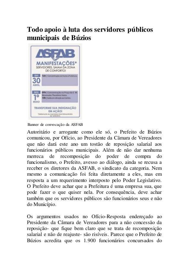 Todo apoio à luta dos servidores públicos municipais de Búzios Banner de convocação da ASFAB Autoritário e arrogante como ...
