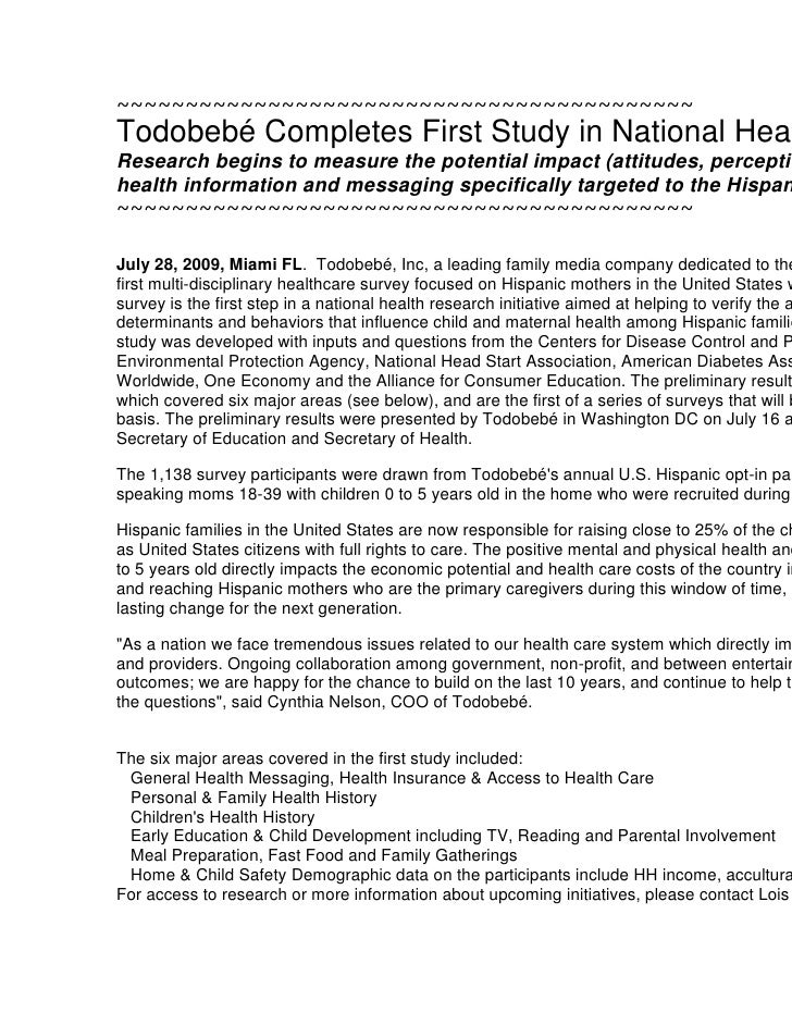 ~~~~~~~~~~~~~~~~~~~~~~~~~~~~~~~~~~~~~~~~~~Todobebé Completes First Study in National Health Research InitiativeResearch be...