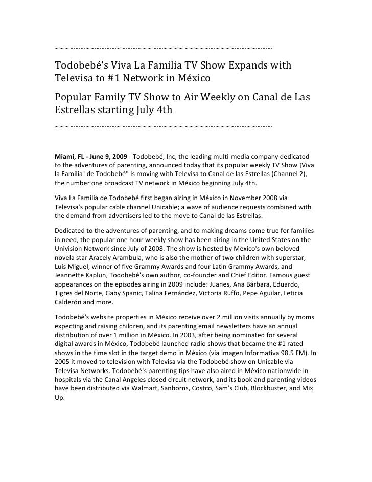 ~~~~~~~~~~~~~~~~~~~~~~~~~~~~~~~~~~~~~~~~~~  Todobebé's Viva La Familia TV Show Expands with Televisa to #1 Network in Méxi...