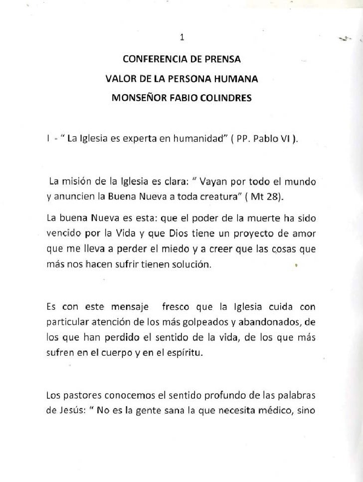 """1                 CONFERENCIA DE PRENSA             VALOR DE LA PERSONA HUMANA               MONSEÑORFABlO COLINDRES1 - """" ..."""