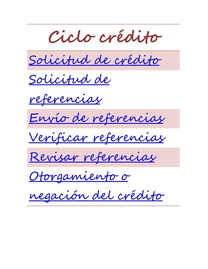Ciclo créditoSolicitud de créditoSolicitud dereferenciasEnvío de referenciasVerificar referenciasRevisar referenciasOtorga...