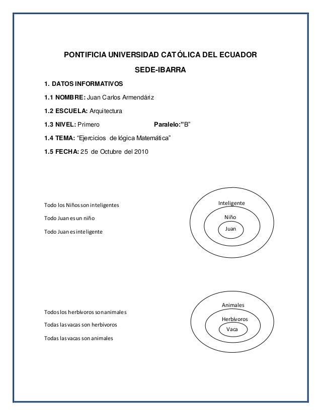 PONTIFICIA UNIVERSIDAD CATÓLICA DEL ECUADOR SEDE-IBARRA 1. DATOS INFORMATIVOS 1.1 NOMBRE: Juan Carlos Armendáriz 1.2 ESCUE...