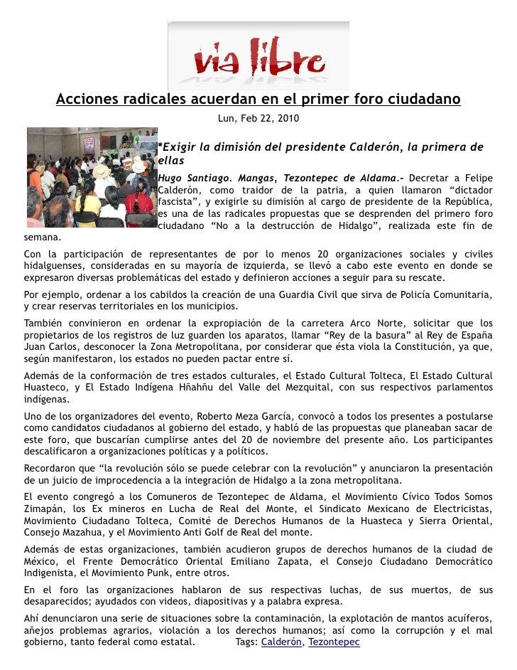 """Se realizó el evento """"No a la destrucción de Hidalgo""""                                          El Sol de Hidalgo          ..."""