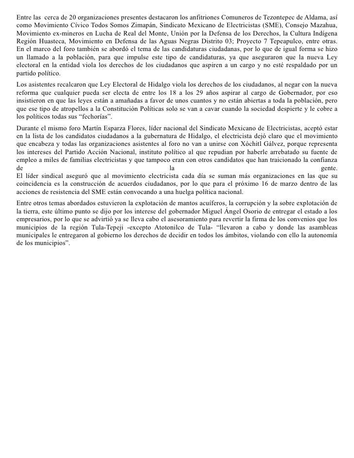 Domingo 21 de febrero de 2010        Martín Esparza se postulara como candidato ciudadano a la                       gober...