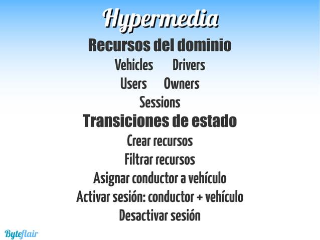 HypermediaHypermedia Definir los formatos de representación Mime Types Definir roles para cada control hypermedia Rel Type...