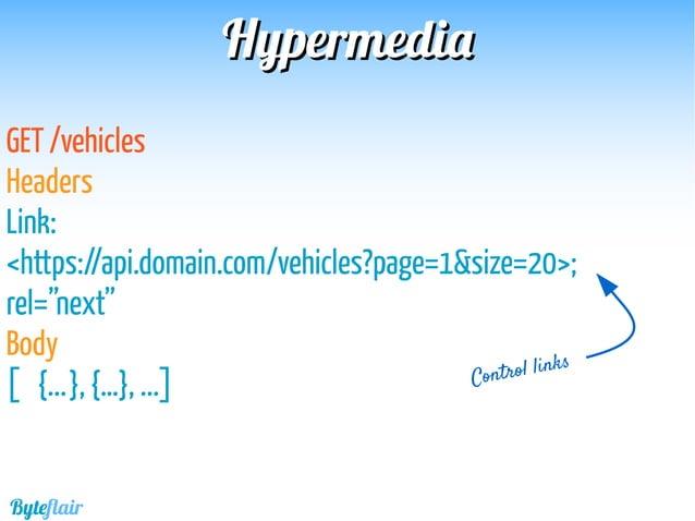 "HypermediaHypermedia GET /sessions/1374 Body { …. ""vehicle"":""https://api.domain.com/vehicles/1"", ""driver"":""https://api.dom..."