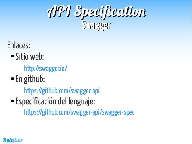 Byteflair SwaggerSwagger APIAPI SpecificationSpecification Ejemplo