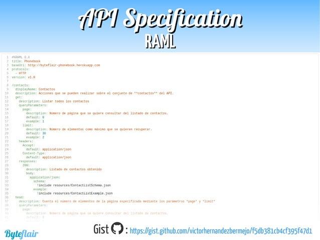 Byteflair ComparativaComparativa APIAPI SpecificationSpecification Comunidad de usuarios  +  Watch  Star  Fork  Ques...