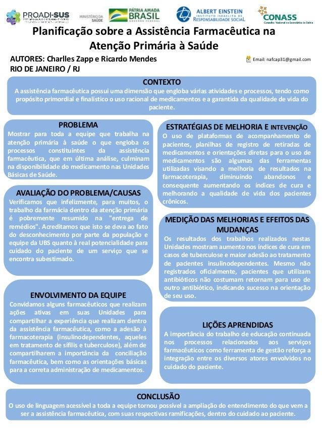 AUTORES: Charlles Zapp e Ricardo Mendes Planificação sobre a Assistência Farmacêutica na Atenção Primária à Saúde PROBLEMA...