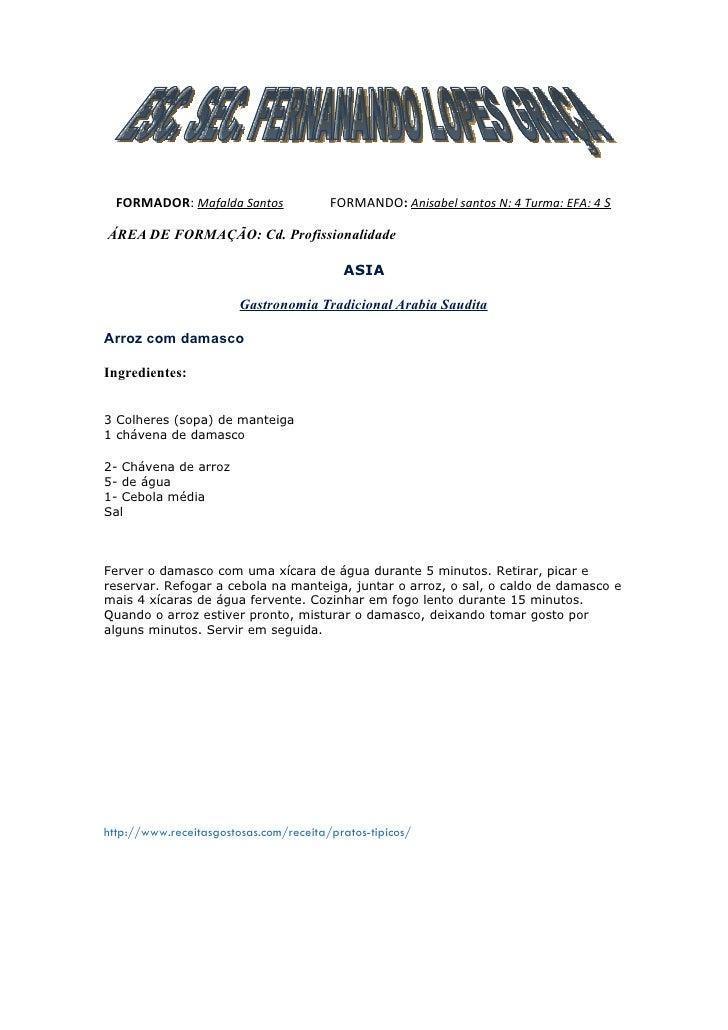 FORMADOR: Mafalda Santos              FORMANDO: Anisabel santos N: 4 Turma: EFA: 4 S  ÁREA DE FORMAÇÃO: Cd. Profissionalid...