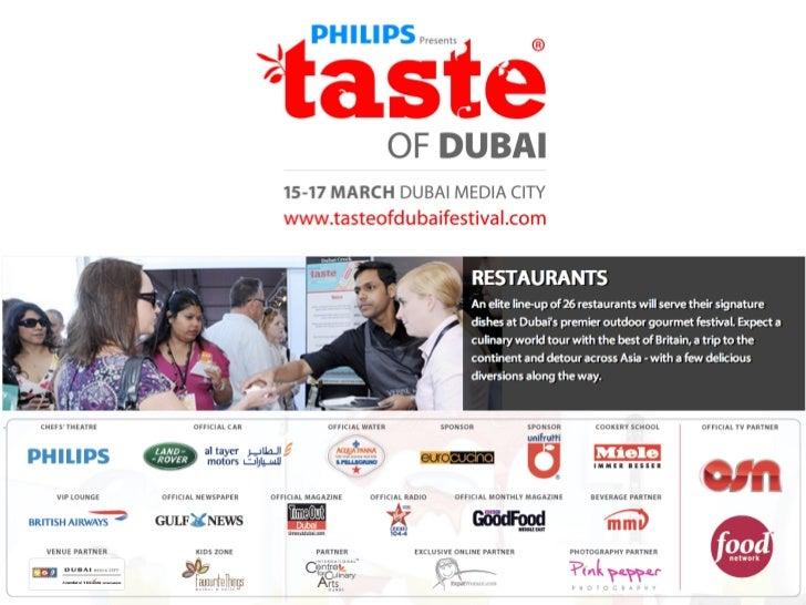 TASTE OF DUBAI 2012 participating restaurants