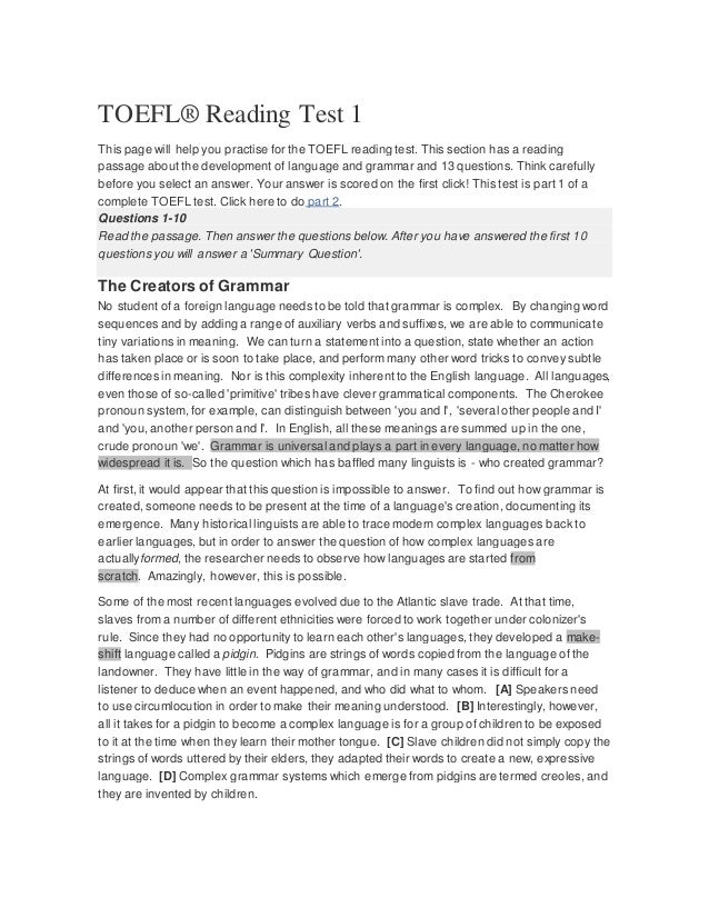 TOEFL® Reading Test 1 This page will help you practise for the TOEFL reading test. This section has a reading passage abou...