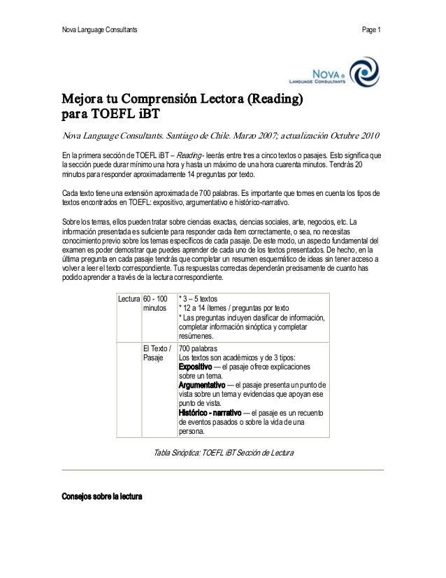 NovaLanguageConsultants Page 1 MejoratuComprensiónLectora(Reading) paraTOEFLiBT NovaLanguageConsultants.San...