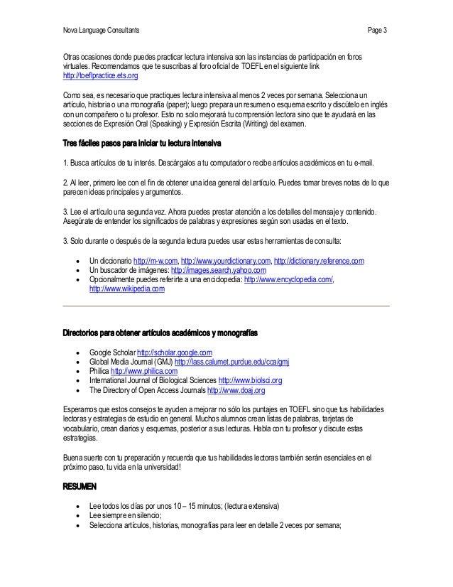 NovaLanguageConsultants Page 3 Otrasocasionesdondepuedespracticarlecturaintensivasonlasinstanciasdeparticip...