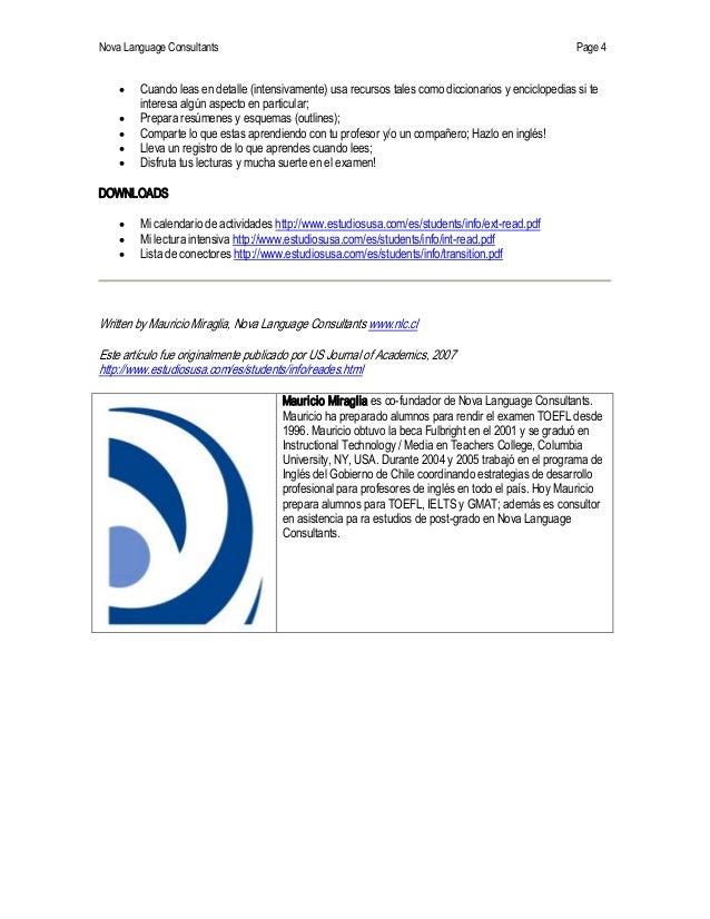 NovaLanguageConsultants Page 4 · Cuandoleasendetalle(intensivamente)usarecursostalescomodiccionariosyencic...