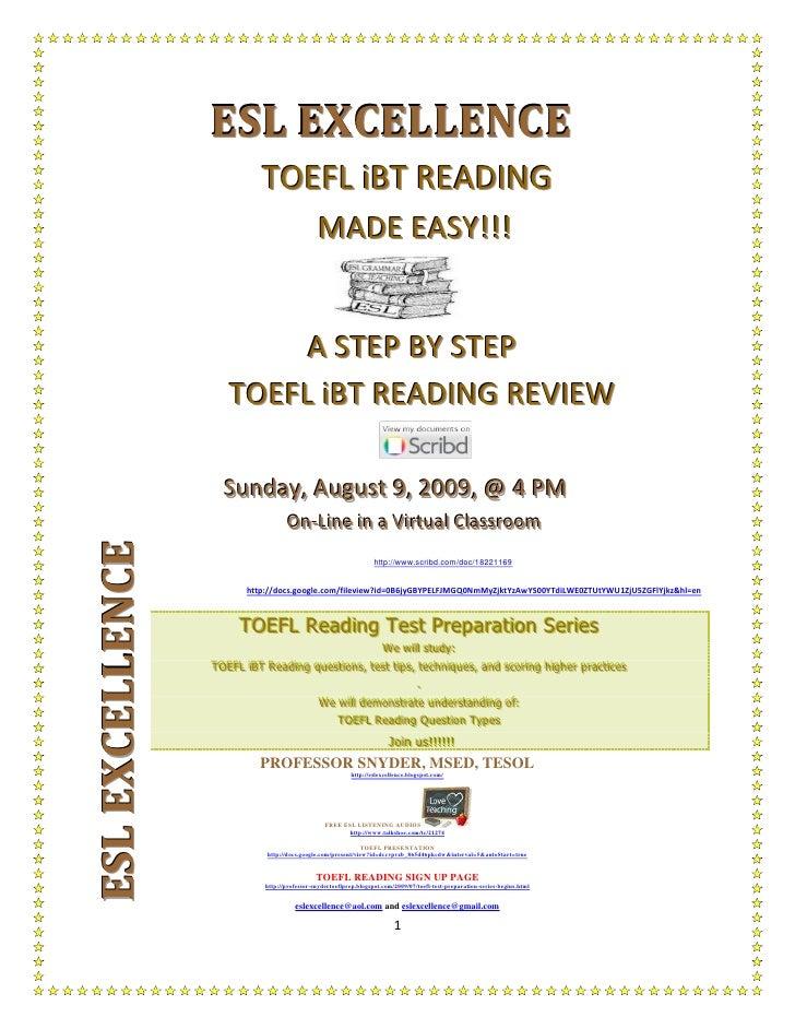 ESL EXCELLENCE                              TOEFL iBT READING                                                 MADE EASY!!!...