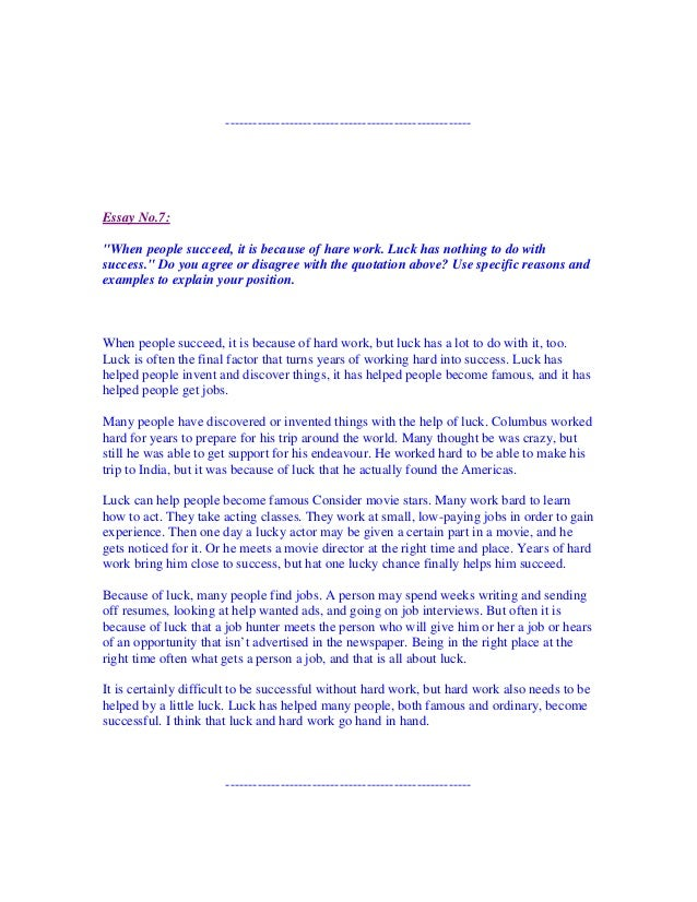hard work and luck essay