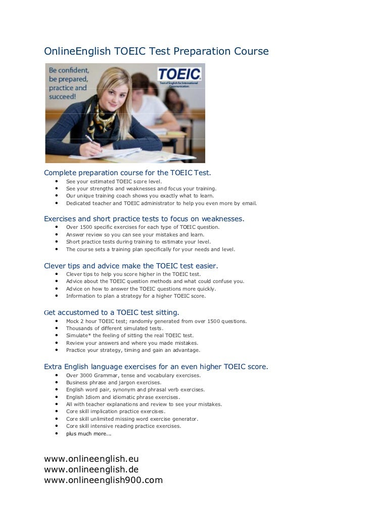 OnlineEnglish TOEIC Test Preparation CourseComplete preparation course for the TOEIC Test.   •   See your estimated TOEIC ...