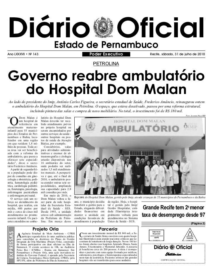 Diário Oficial                                 Estado de PernambucoAno LXXXVII • N0 143                                   ...