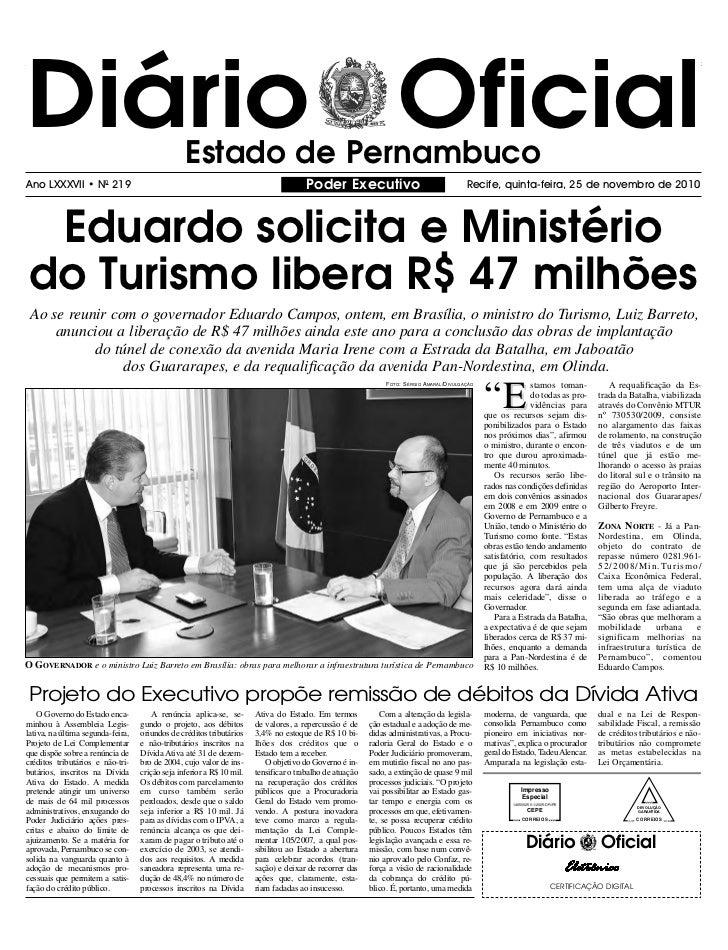 Diário Oficial                                   Estado de PernambucoAno LXXXVII • N0 219                                 ...