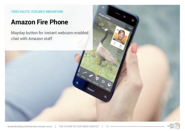 VIDEO VALETS: FEATURED INNOVATIONS  Amazon Fire Phone  Mayday button for instant webcam-enabled  chat with Amazon staff  w...