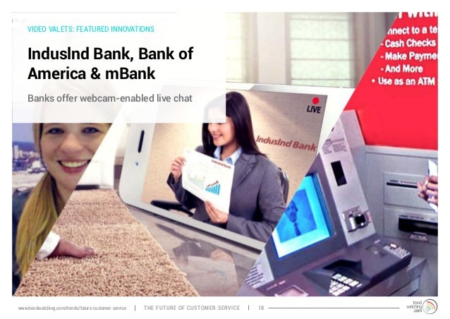 VIDEO VALETS: FEATURED INNOVATIONS  Induslnd Bank, Bank of  America & mBank  Banks offer webcam-enabled live chat  www.tre...